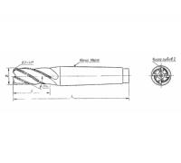 Фреза твердосплавная концевая 12,5х14х115 к/х с винтовыми пластинами ВК8